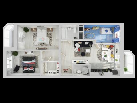 Планировка Трёхкомнатная квартира площадью 91.7 кв.м в ЖК «Союзный»