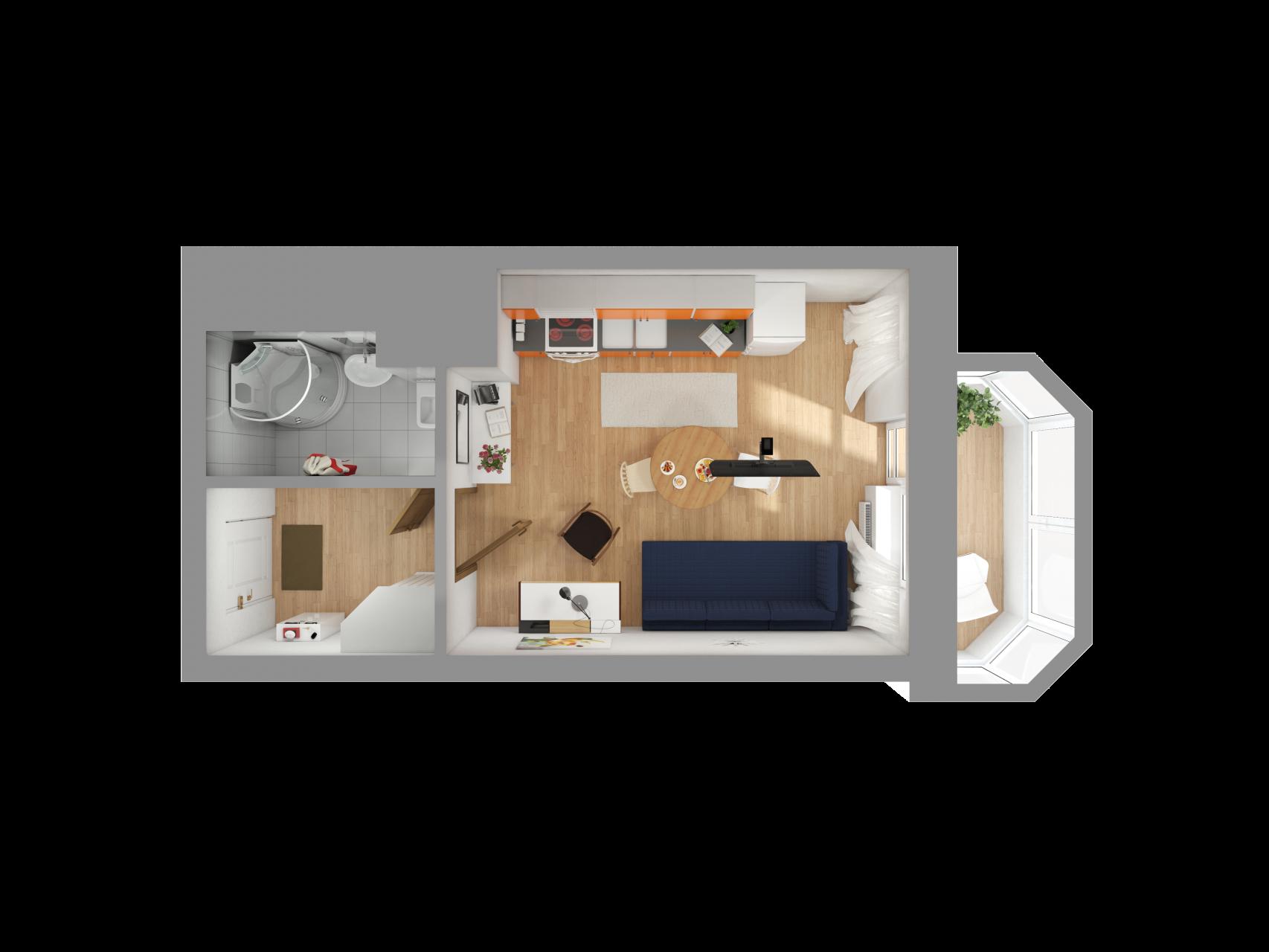 Планировка Однокомнатная квартира площадью 29.1 кв.м в ЖК «Союзный»