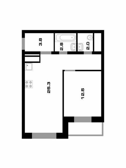 Планировка Однокомнатная квартира площадью 47.3 кв.м в ЖК «Союзный»