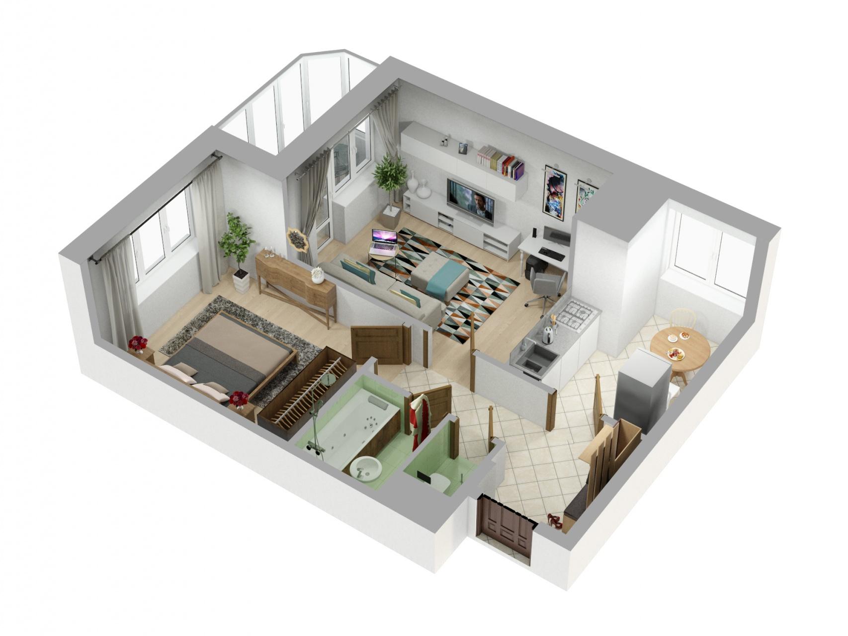 Планировка Однокомнатная квартира площадью 46.4 кв.м в ЖК «Союзный»