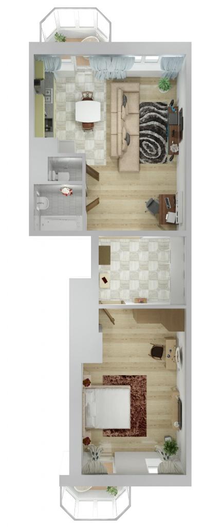 Планировка Двухкомнатная квартира площадью 75.2 кв.м в ЖК «Союзный»
