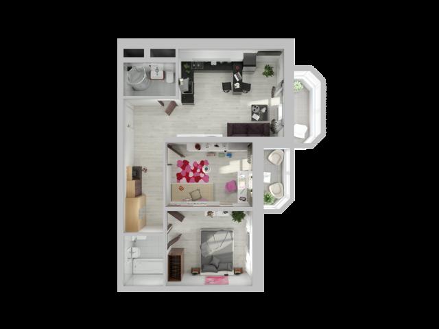 Планировка Двухкомнатная квартира площадью 68 кв.м в ЖК «Союзный»