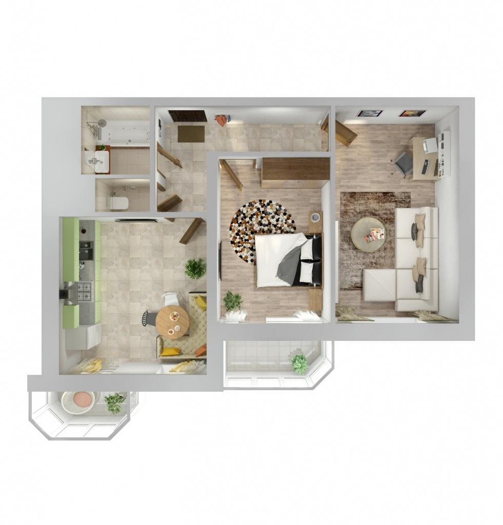 Планировка Двухкомнатная квартира площадью 70.2 кв.м в ЖК «Союзный»