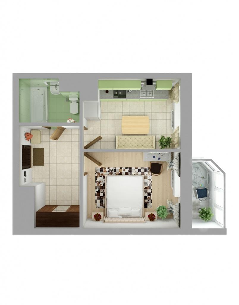 Планировка Однокомнатная квартира площадью 37.3 кв.м в ЖК «Союзный»