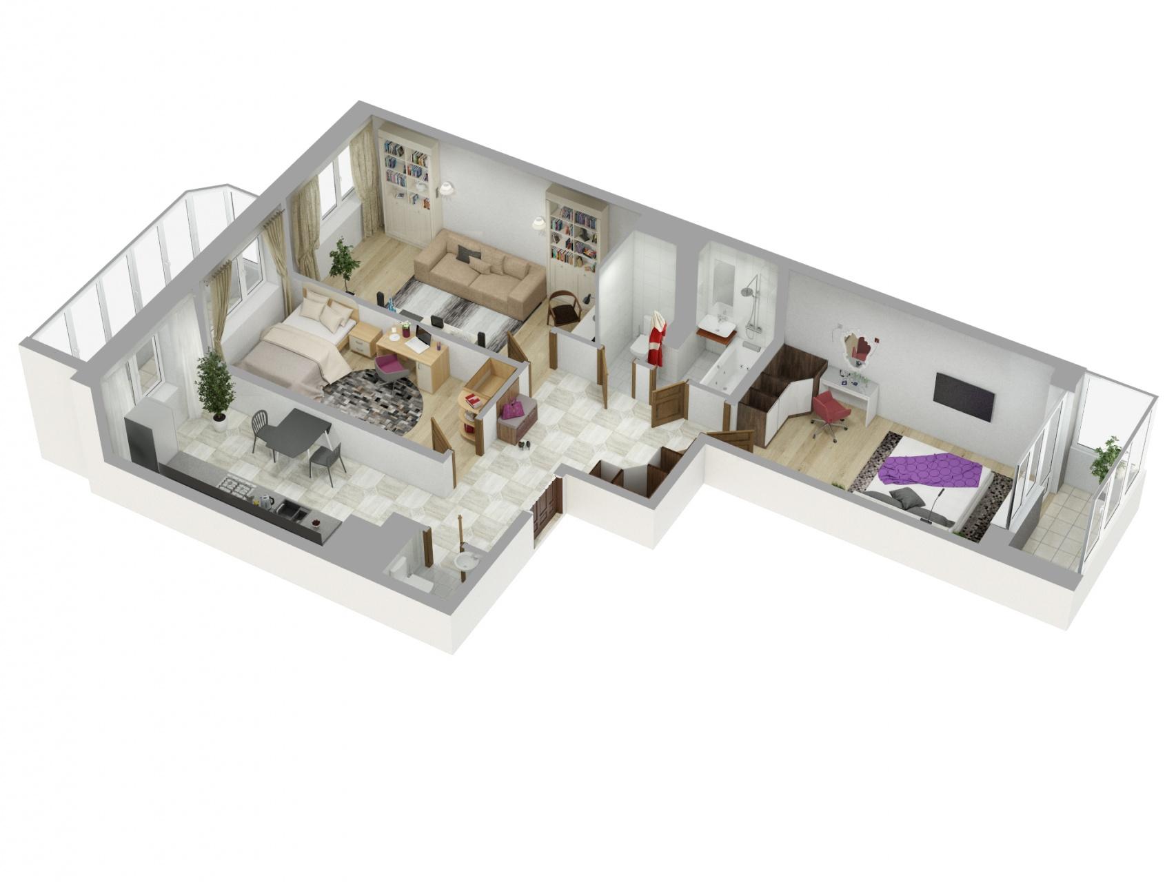 Планировка Трёхкомнатная квартира площадью 89.6 кв.м в ЖК «Союзный»